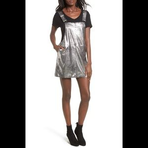 NWT BlankNyc Metallic Overall Minidress